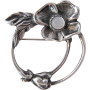 Vintage Carl Ruopoli Sterling Dogwood Flower Pin w/ Moonstone
