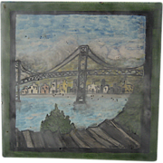 Painting on Tile Golden Gate Bridge SF Signed Circa 1940