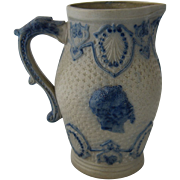 Ca 1900 Salt Fired Stoneware Pitcher Cobalt Decoration