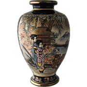 Early 1900s Satsuma Hand Painted Gilded Cobalt Vase Geisha 8 1/2""