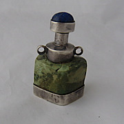 Carved Serpentine Snuff Bottle w/ Sterling Mounts Lapis Stopper