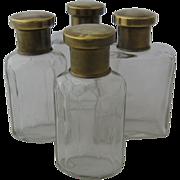 Set 4 Dresser Scent Bottles Brass Tops German 1930s