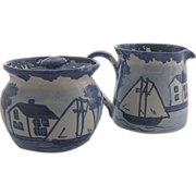Shard Pottery Dover Maine Sugar Creamer Ships Houses