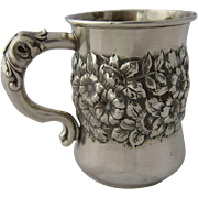 Ca 1900 Shiebler Sterling Child's Cup Repousse Florals