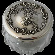 Shreve & Co Dresser Jar Sterling Cupid Repousse Top