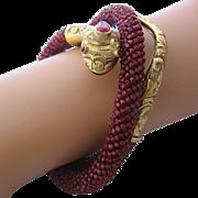 Victorian Coiled Snake Bracelet Garnet Glass Beads GF Armlet
