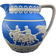 C. 1890s Copeland Spode Blue Jasperware Stag Hunt Milk Pitcher Creamer
