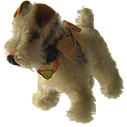 "1959 Steiff Miniature ""Foxy"" Fox Terrier Dog w/ Tag"