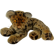 "1950s Steiff Reclining Leopard Cheetah Mohair Yellow Eyes 9"""