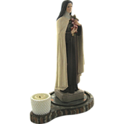 St Theresa Hand Painted Ceramic Figure w/ Glass Dome & Candle Holder Tall