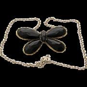 "1917 Swedish Silver Onyx Butterfly Necklace GJ Mark 20"""