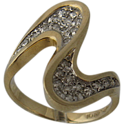 Dramatic 14K Diamonds Double Swoosh Ring VIP Size 6.5