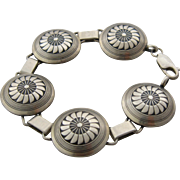 The Silver Mesa Navajo Sterling Link Bracelet Mimbres Sunflower 6.5""