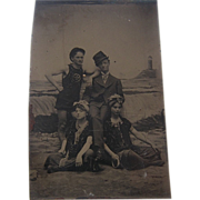 Late 1800s Tintype Bathers at Seashore Sixth-Plate
