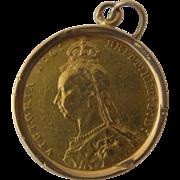 1891 British Gold Sovereign Queen Victoria Jubilee Head in Bezel