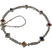 14K White Gold Multi-Color Sapphires Diamonds Link Bracelet 7 1/2""