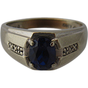 1930s 10K Synthetic Blue Sapphire Men's Ring Size 10 1/4