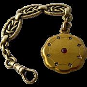 Victorian 14K Watch Fob Locket w/ Fancy Chain Ruby Diamonds