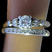 14K Yellow Gold Diamonds Wedding Ring Set Size 5 3/4