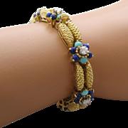 "Heavy 18K Woven Gold Bracelet Lapis Turquoise Diamonds 6 3/4"""