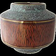 Mid Century West Germany Modernist Vase Ceramic Teal & Chocolate