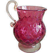 Fenton Cranberry Art Glass Pitcher Vase Vintage Diamond Optic Gold Flecks