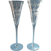 Wedding Flutes Toasting Pair Champagne Vintage Etched Hearts Doves