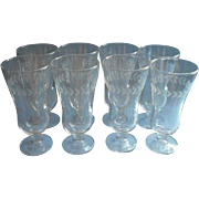 Parfait Glasses Vintage Set 8 Engraved Bands Iced Tea