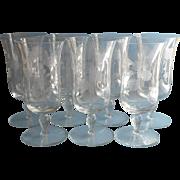SOLD Iced Tea Goblets Footed Engraved Glasses Vintage Set 7 Stemware Large
