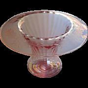 Pink Glass Vase Engraved 1920s Rolled Rim Vintage