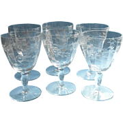 Water Goblets Set 6 Vintage Engraved Wide Stemware Wine