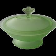 1920s Vanity Powder Dish Lid Green Satin Tassaunt Glass Vintage