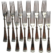 Victorian Silver Forks Attica 1892 Antique Set 12 Handsome