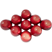Celluloid Brooch Vintage 1920s to 30s Raspberry Pink