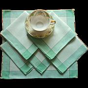 Napkins 1920s Green Kitchen Vintage Linen Set 6 Plaid