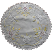 SOLD Transitional Period Centerpiece Hand Embroidery Linen Lace Antique TLC