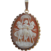 Three Graces Cameo Pendant Gold Filled Vintage Shell