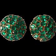 Crown Trifari Emerald Green Rhinestones Earrings Vintage TLC