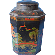 SOLD 1910s 1920s Tea Tin Vintage Black Orange Chinese Scenes