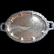 BIG Silver Tray Oval Antique Art Nouveau Grapes Handles Tea