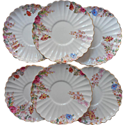Spode Chelsea Garden Six Cream Soup Liner Plates Saucers Vintage China