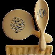 Celluloid Set Brush Comb Mirror Monogram A O C Antique Vanity 1910s