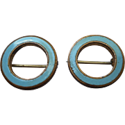 Baby Pins Beauty Pair Antique Turquoise Blue Enamel