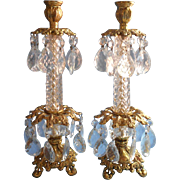 Pair Candlesticks Vintage Gilt Crystal Prisms Hollywood Regency Ornate