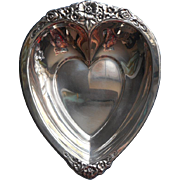 SOLD Silver Heart Shape Dish Candy Nuts w Flowers Vintage
