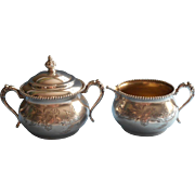 Victorian Silver Creamer Sugar Bowl Antique Van Bergh Beaded Rim