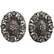 Grisaille Vintage Plastic Earrings Rhinestones Molded Plastic