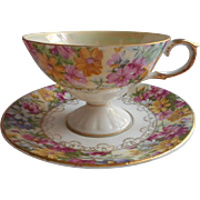 Wasp Waisted  Chintz Luster China Cup Saucer Vintage Floral