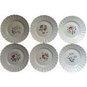 SOLD Victorian Dessert Plates Hand Painted China Set 6 Worn But Sweet