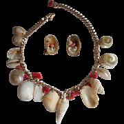 Seashell Necklace Earrings Set Vintage Shell Shells